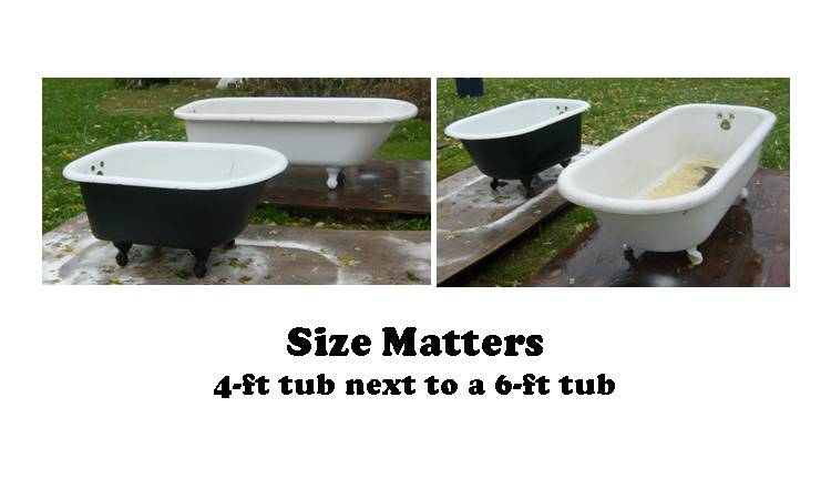 Amazing glaze kitchen bath renewal clawfoot tubs for Standard bathtub size in feet
